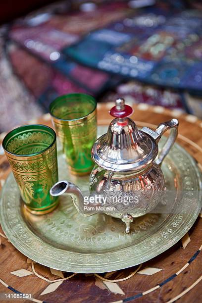 Moroccan teapot on tray