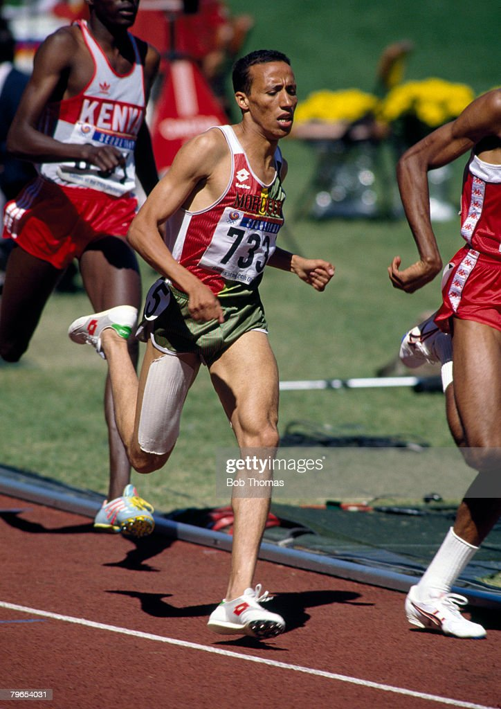 Moroccan track athlete Said Aouita pictured in action competing to win the bronze medal in the Men's 800 metres event at the 1988 Summer Olympics...