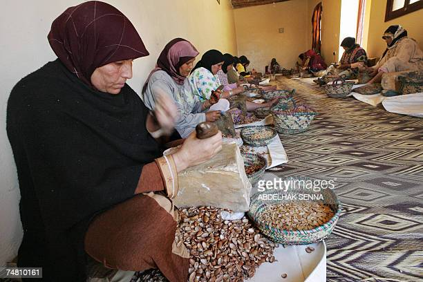 Moroccan women crush Argan tree nuts 18 June 2007 in Smimmou near Essaouira to make Argan oil The Argan tree is unknown for many people since it...