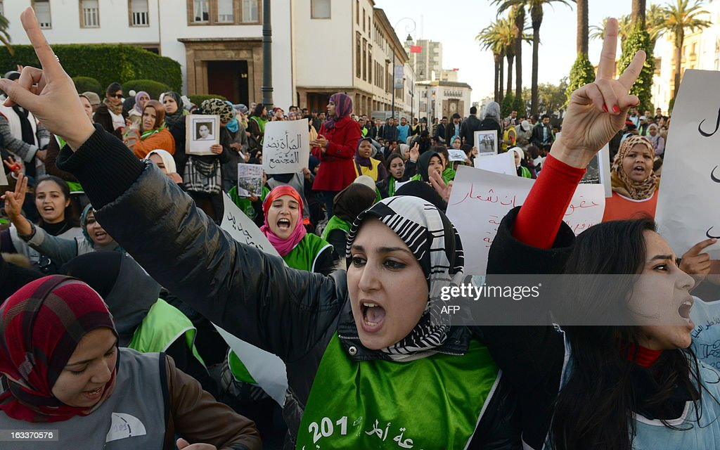 Moroccan women demonstrate during the celebration of the International Women's Day on March 8, 2013, in Rabat. The International Women's Day is marked on March 8 every year.