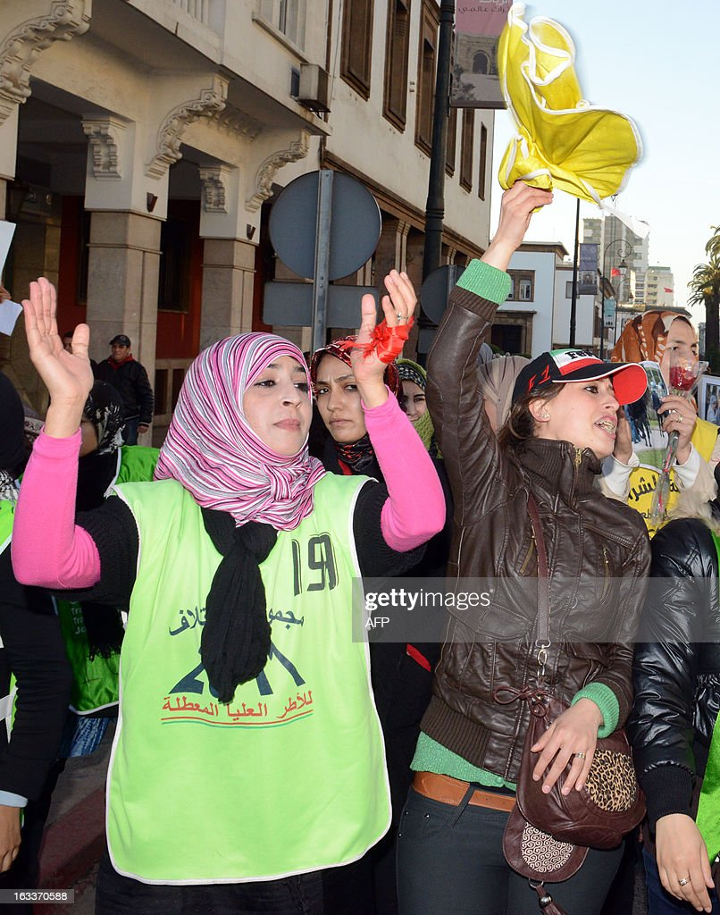 Moroccan women demonstrate during the celebration of the International Women's Day on March 8, 2013, in Rabat. The International Women's Day is marked on March 8 every year. AFP PHOTO/FADEL SENNA