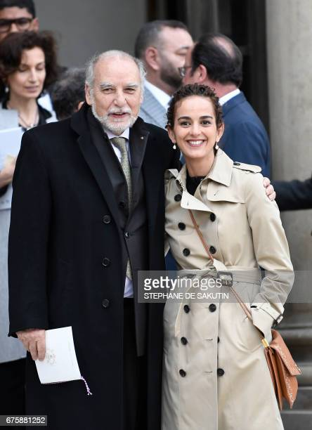 Moroccan writer Tahar Ben Jelloun and FrenchMoroccan writer Leila Slimani pose following a meeting with the King of Morocco and the French President...