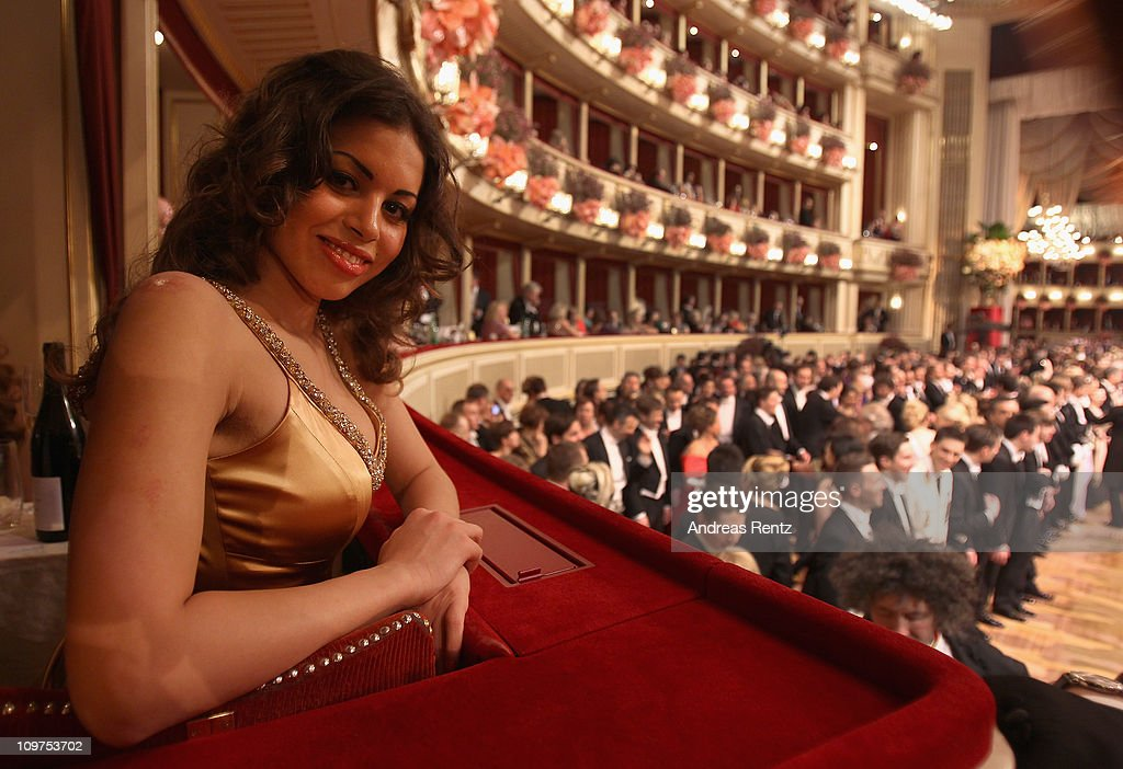 Moroccanborn pole dancer Karima El Mahroug nicknamed 'Ruby the Heart Stealer' attends the traditional Vienna Opera Ball at the state opera on March 3...
