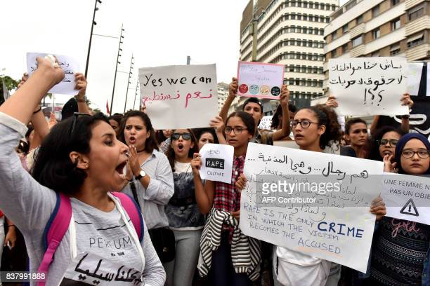 Moroccans chant slogans in Casablanca on August 23 during a protest against sexual harrasment following the sexual assault of a woman on a bus Six...