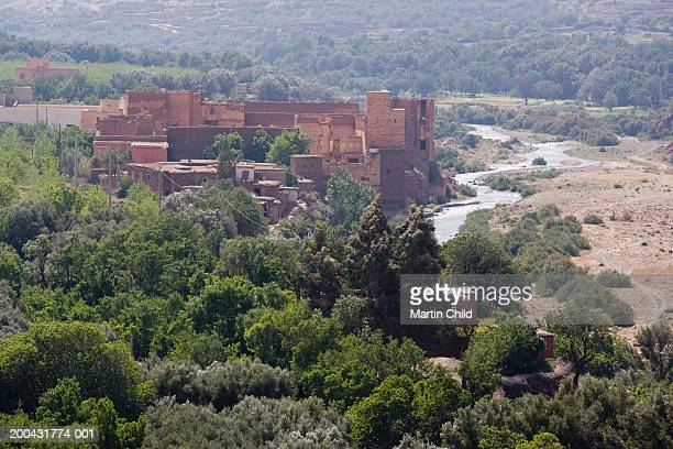 Morocco, Atlas mountains, Toubkal, derelict kasbah by river