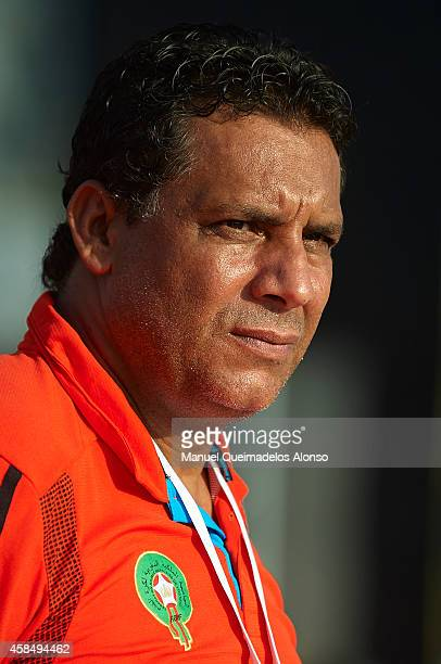 Morocco coach Mustapha el Hadaoui looks on prior to start day two of the Beach Soccer Intercontinental Cup 2014 match between Portugal and Morocco at...