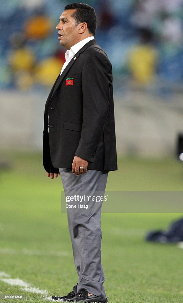 Morocco coach Rachid Taoussi during the 2013 African Cup of Nations match between Morocco and Cape Verde at Moses Mahbida Stadium on January 23, 2013 in Durban, South Africa.