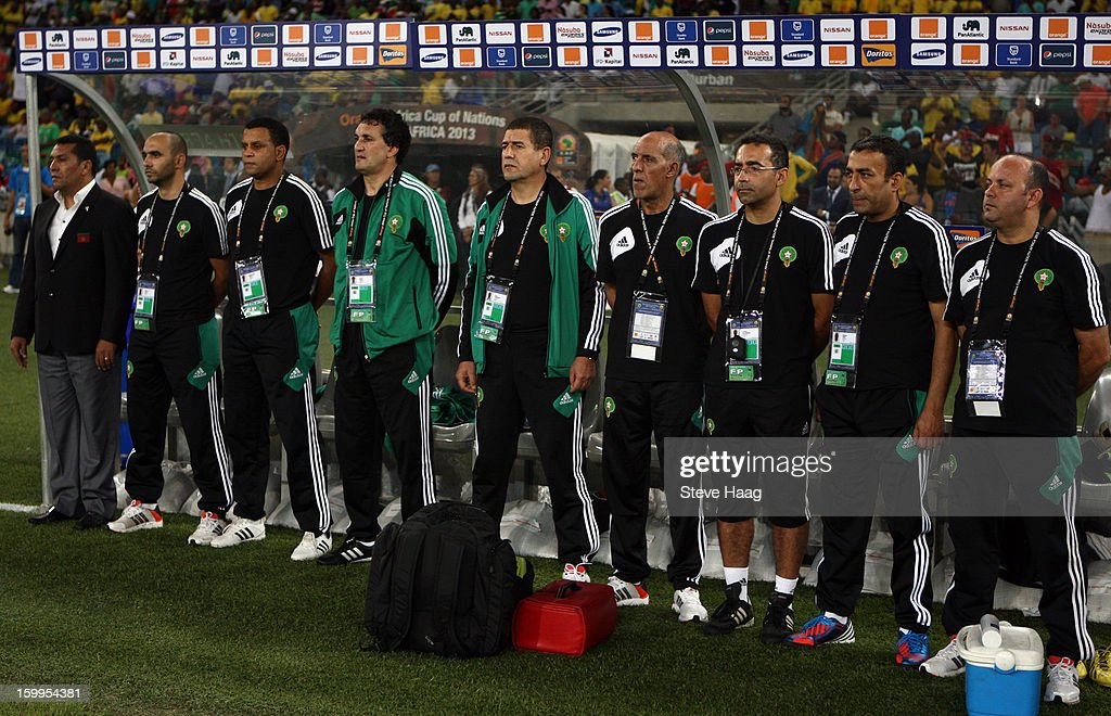Morocco coach Rachid Taoussi (Far L) is shown with his backroom staff during the 2013 African Cup of Nations match between Morocco and Cape Verde at Moses Mahbida Stadium on January 23, 2013 in Durban, South Africa.