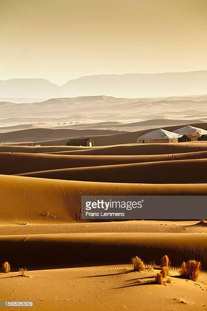 Morocco, Erg Chigaga sand dunes. Tourist camp
