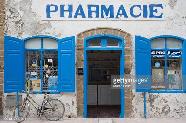 Morocco, Essaouira, pharmacy with blue shutters
