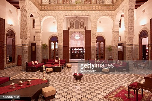 Morocco, Fes, Hotel Riad Fes, lighted entrance hall