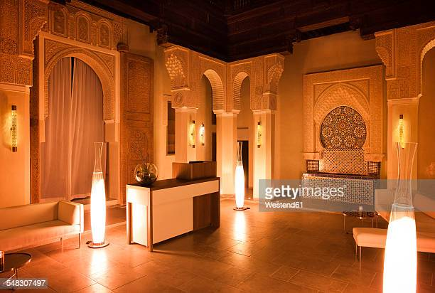 Morocco, Fes, Hotel Riad Fes, lighted lounge by night