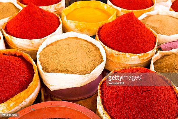 Morocco, Guelmim, spices at a market