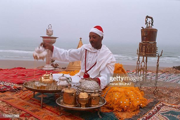 Morocco in September 2004 Moussem de TanTan mint tea break at the mouth of the river Chbika