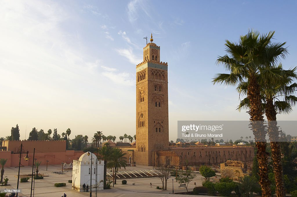 morocco marrakech koutoubia mosque stock photo getty images. Black Bedroom Furniture Sets. Home Design Ideas