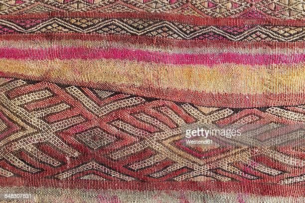 Morocco, Marrakesh, detail of a traditionally Moroccan carpet