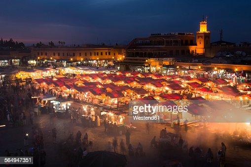 Morocco, Marrakesh, Djemaa el Fna at night