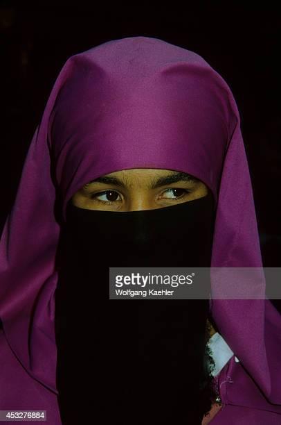 Morocco Marrakesh Medina Portrait Of Traditional Muslim Woman With Veil