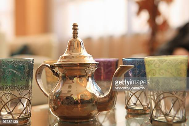 Morocco, Marrakesh, teapot and glasses on tray