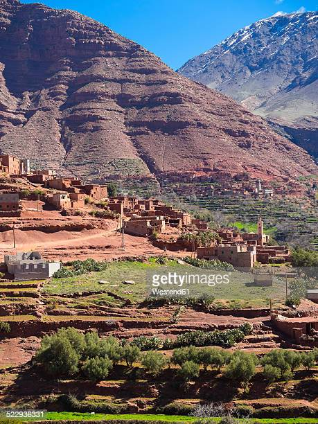 Morocco, Marrakesh-Tensift-El Haouz, Atlas Mountains, Ourika Valley, Village Anammer, Loam houses