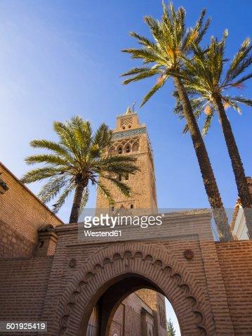 Morocco, Marrakesh-Tensift-El Haouz, Marrakesh, Gate to the Koutoubia Mosque, Minaret