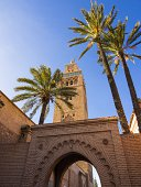 Morocco, Marrakesh-Tensift-El Haouz, Marrakesh, Gate to the Koutoubia Mosque, Minaret