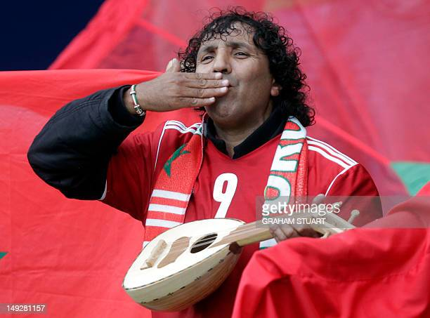 A Morocco supporter gestures during a group D Olympic men's football match between Morocco and Honduras at Hampden Park in Glasgow on July 26 on the...