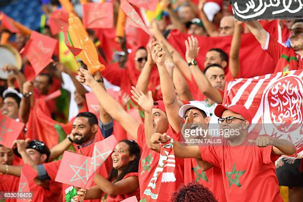 Morocco supporters cheer for their team ahead of the 2017 Africa Cup of Nations quarterfinal football match between Egypt and Morocco in PortGentil...