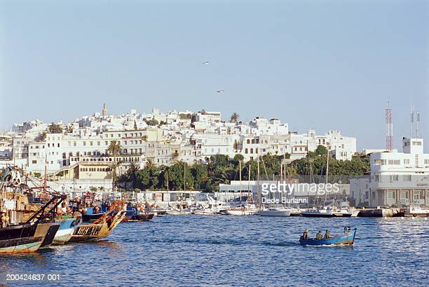 Morocco, Tangier, view of Old City from harbour