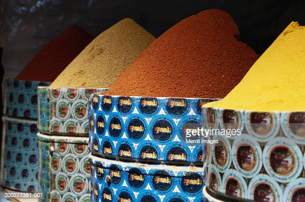 Morocco, Taroudannt, pyramids of curry and other spices in market