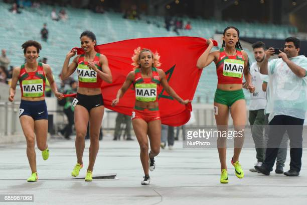 Morocco team celebrate after taking the third place in Women's 4 x 400 Relay final during day five of Athletics at Baku 2017 4th Islamic Solidarity...