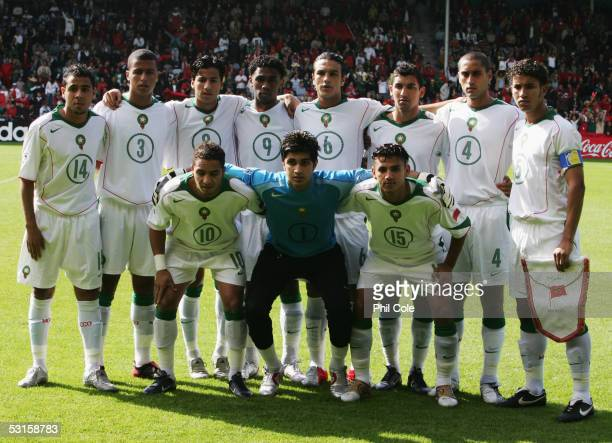 Morocco team line up prior to the FIFA World Youth Championship match between Spain and Morocco held at the Vijverberg Stadium on June 11 2005 in...