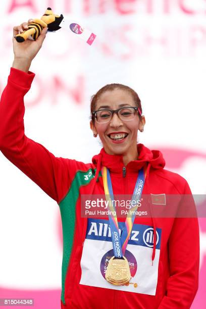Morocco's Benhama with her gold medal after the Women's 1500m T13 during day two of the 2017 World Para Athletics Championships at London Stadium