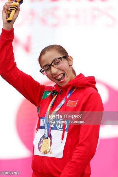 Morocco's Benhama with her gold medal after the Women's 1500m T13 during day two of the 2017 World Para Athletics Championships at London Stadium...