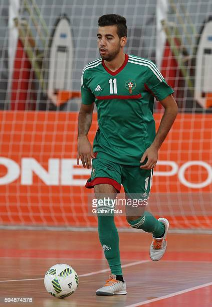 Morocco's Bilal Bakkali in action during the Futsal International Friendly match between Portugal and Morocco at Pavilhao Fidelidade on August 24...