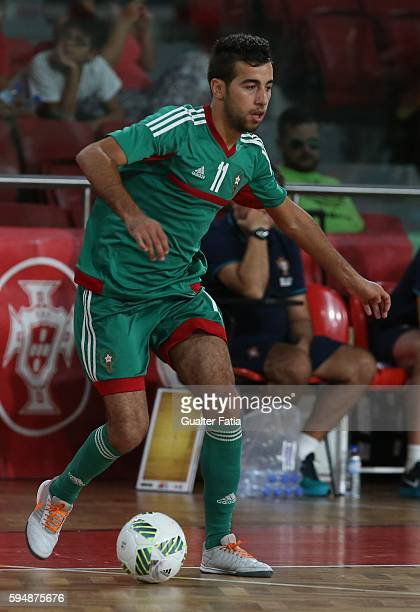 MoroccoÕs Bilal Bakkali in action during the Futsal International Friendly match between Portugal and Morocco at Pavilhao Fidelidade on August 24...