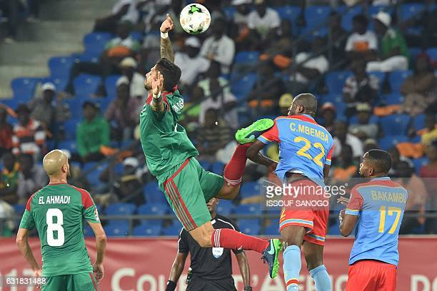 Morocco's defender Manuel Da Costa jumps to head the ball next to Democratic Republic of the Congo's defender Chancel Mbemba during the 2017 Africa...