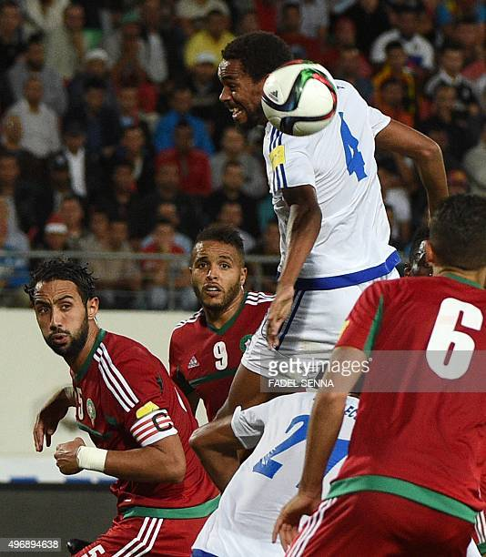 Morocco's El Arabi Youssef vies for the ball with the Equatorial Guinea's Fernando Rui Gomez during the World Cup 2018 qualifier football match...