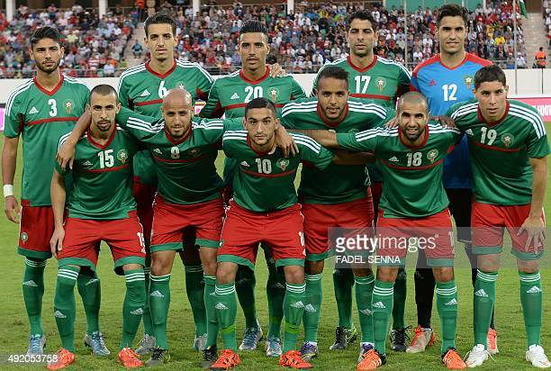 Morocco's football team poses before a friendly match against the Ivory Coast in Agadir on October 9 2015 AFP PHOTO / FADEL SENNA