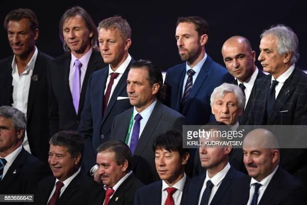 Morocco's French coach Herve Renard Peru's Argentinian coach Ricardo Gareca Iceland's coach Heimir Hallgrimsson England's coach Gareth Southgate...