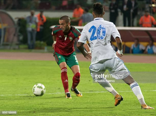 Morocco's Hakim Ziyech vies for the ball with Gabon's Denis Bouanga during their FIFA World Cup 2018 Group C football match between Morocco and Gabon...