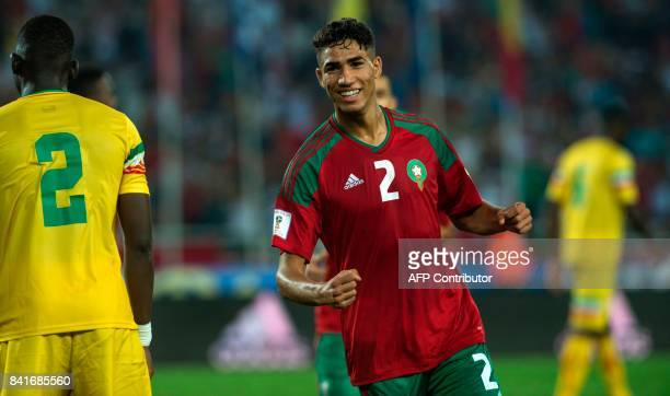 Morocco's Hakimi Achraf celebrates his goal during the match Morocco VS Mali for the qualification of the Fifa world cup Russia 2018 on September 1...