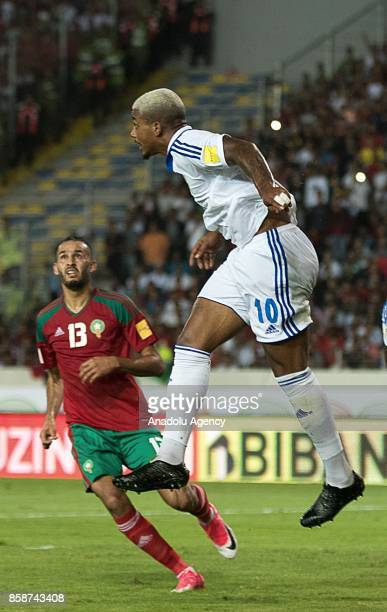 Morocco's Khalid Boutaib vies for the ball with Gabon's Mario Lemina during their FIFA World Cup 2018 Group C football match between Morocco and...