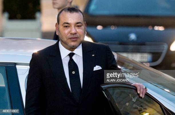 Morocco's King Mohammed VI leaves following his meeting with the French President at the Elysee palace on February 9 2015 in Paris French President...
