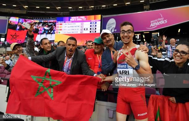 Morocco's Mahdi Afri celebrates winning the Men's 200m T12 Final during day eight of the 2017 World Para Athletics Championships at London Stadium