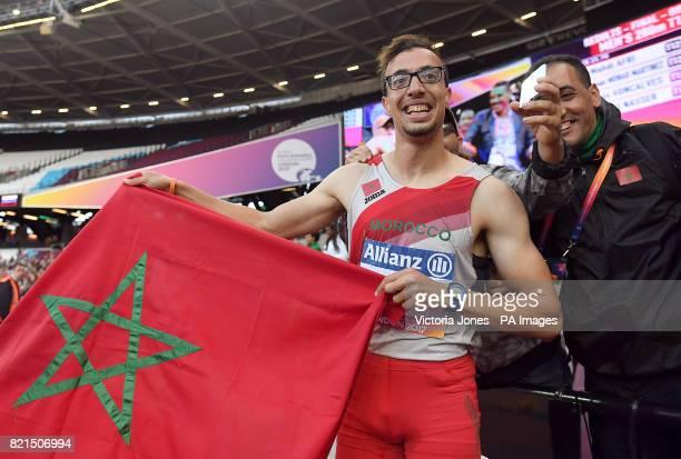 Morocco's Mahdi Afri celebrates winning the Men's 200m T12 Final