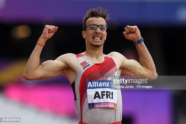 Morocco's Mahdi Afri celebrates winning the Men's 400m T12 during day five of the 2017 World Para Athletics Championships at London Stadium