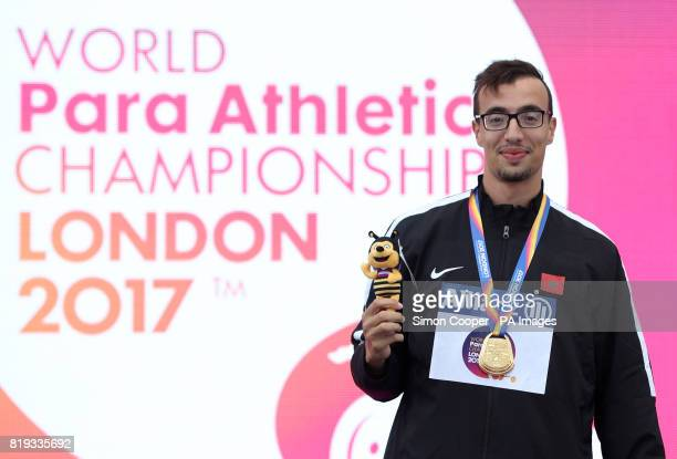 Morocco's Mahdi Afri with his gold medal after the Men's 400m T12 Final during day five of the 2017 World Para Athletics Championships at London...