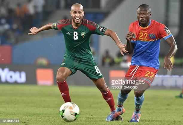 Morocco's midfielder Karim El Ahmadi challenges Democratic Republic of the Congo's defender Chancel Mbemba during the 2017 Africa Cup of Nations...