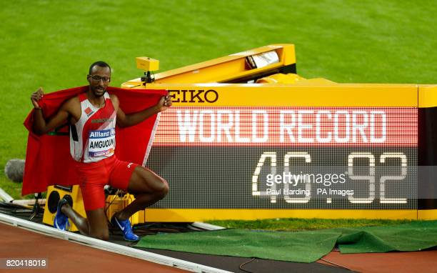 Morocco's Mohamed Amguoun celebrates his world record in the Men's 400m T13 Final during day eight of the 2017 World Para Athletics Championships at...
